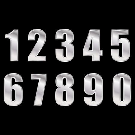 Silver digital numbers vector . Digitals numbers.