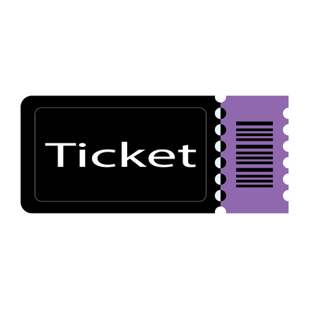 Black and purple cinem movie ticket on white background. Illustration