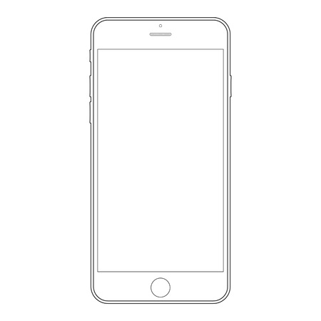 Double out lines outline smartphone with camera and menu button on white background. Smartphone outline vector
