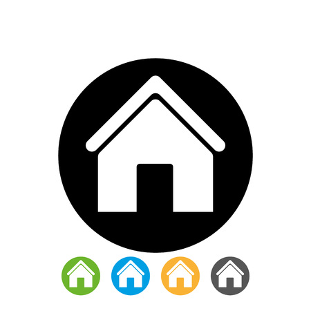 white home icon in black circle for we site design on white background. home icon in circle vector. Ilustrace