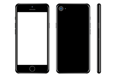 Smartphone nero con schermo bianco sul retro e sul lato anteriore con schermo bianco su sfondo bianco. Smartphone edizione nera con vettore fotocamera