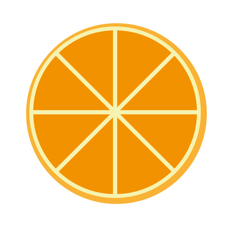 Orange fruit flat style front view icon vector. Piece of fruit orange sign on white background.