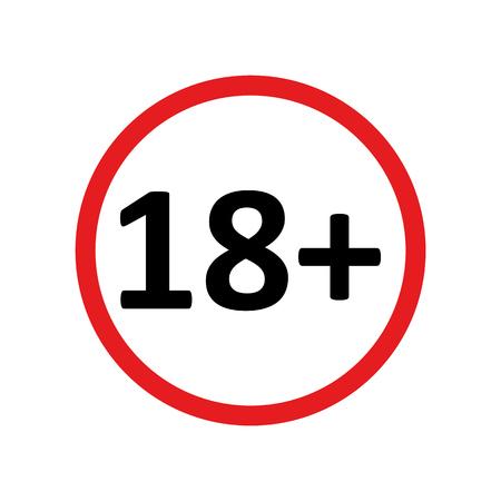 eighteen plus age limit red round icon vector .