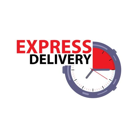 Express delivery with a stopwatch in the style of flat. Express delivery icon.  Fast delivery stopwatch, express and urgent shipping, services, chronometer. Illusztráció