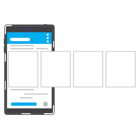 Social networking black color smartphone with browser menu and photo windows. Dark grey color smartphone with photo web page.