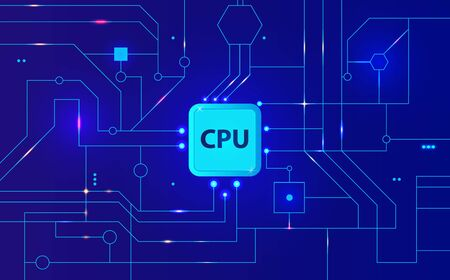 Technical abstract blue background with a computer motherboard and processor, illuminated by colorful lights simulating the operation of a computer circuit, vector. cpu abstract background.