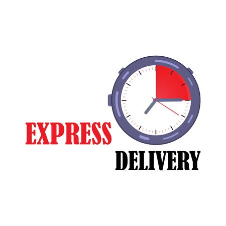 Express delivery with a stopwatch in the style of flat. Express delivery icon.  Fast delivery, express and urgent shipping, services, chronometer.