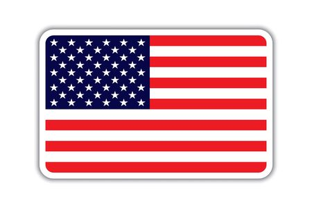 Usa American flag badge with shadow. American Usa flag badge icon vector eps10. American flag badge with shadow, isolated on white.