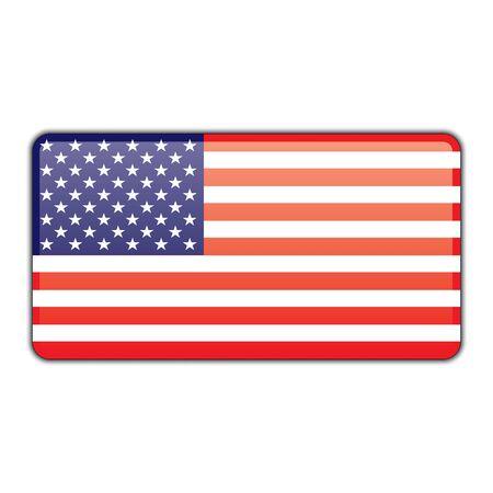 Usa American flag glossy badge with shadow. American Usa flag glossy badge icon vector eps10. American flag badge with shadow.