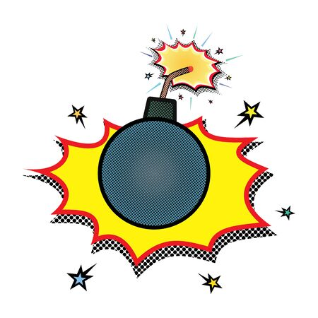 Burning bomb explosion, comic style effects with red and yellow fire detonation, vector on white. Comic burning bomb explosion. Bomb with burning wick.