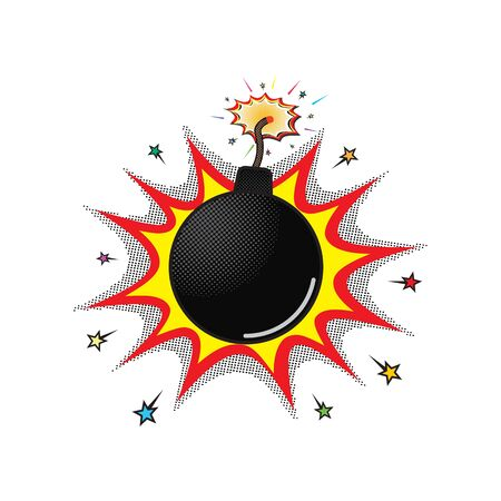 Comic black round bomb with a burning wick and red and orange color explosion with stars, vector. Comic burning bomb boom with wick. Illusztráció
