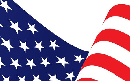 Patriotic american flag of the united states of america or USA waving from the wind. American or USA waving flag. Waving american flag isolated on white.