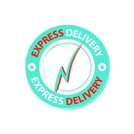 Round sticker of express delivery service with lightning. Delivery service icon vector eps10. Shipping company sign delivery service stamp. Illusztráció
