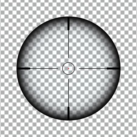 Optical sniper scope with red dot designator. Sniper Scope rifle vector eps10. Black transparent sniper scope with red dot target pointer Illusztráció