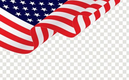 Waving american flag isolated on transparent on white. American or USA waving flag.