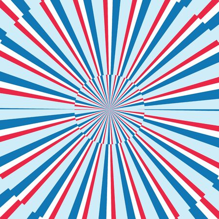 Blue, red and white stripes sunrays background. Sunrays red and blue color vector eps10 background. Sunrays abstract rays background.