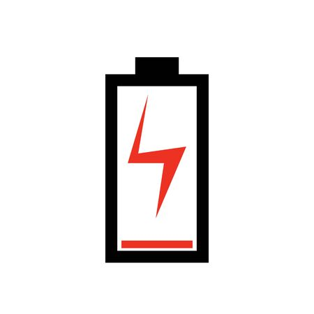 Black color battery charging flat sign. Battery level indicator. Status. Electric battery charging icon