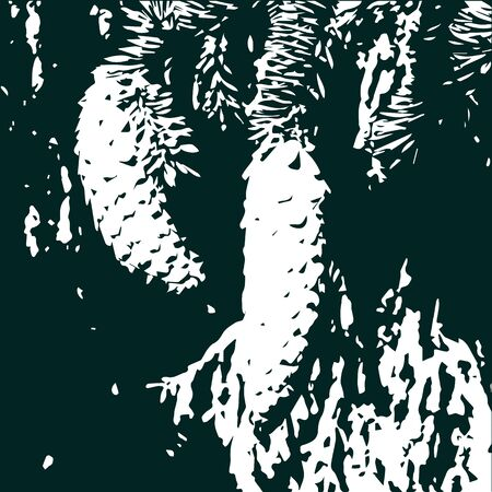 Coniferous trees and cones, traced a background of dark green color with a white silhouette of the forest. Grunge style backgroung with forest and cones. Forest background.