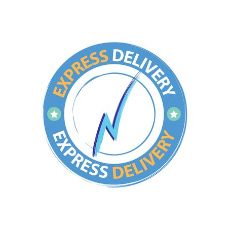 Round sticker of express delivery service with lightning. Delivery service icon vector eps10. Shipping company sign delivery service stamp. Illustration