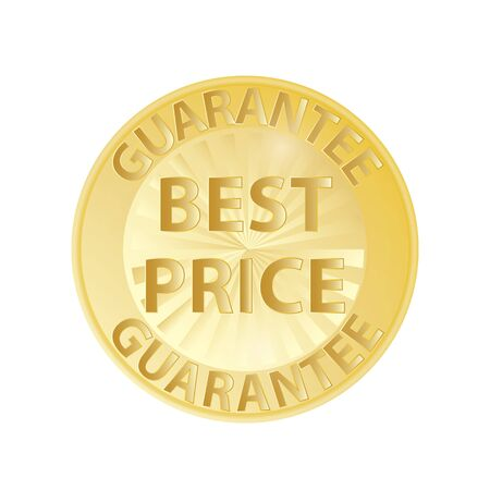 Gold badge best price guarantee in the form of a round medal icon on white background vector eps10. Best price guarantee medal or label.