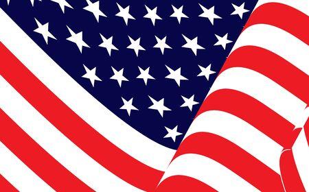American waving flag vector background. Waving american flag, independence day. Illusztráció