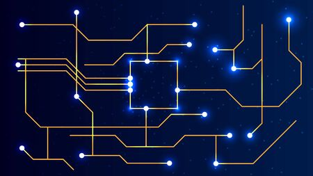 Abstract technology blue background with electronic board and computing processor of orange color illuminated by lights, against the starry sky. Technology space abstract background.