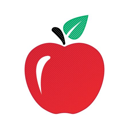 Red apple with a flare, green leaf and dots in the style of a comic. Juicy ripe red apple with leaf on white background vector eps10.