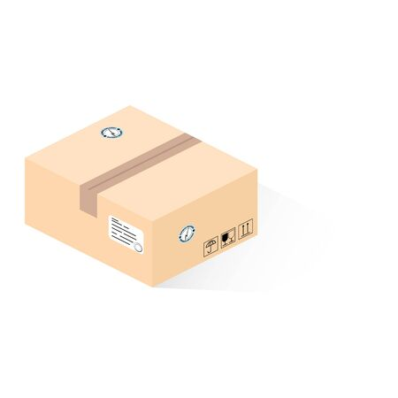 Isometric parcel box with shadow isolated on white. Brown isometric Express delivery carton box with transportation signs vector eps10 Illusztráció