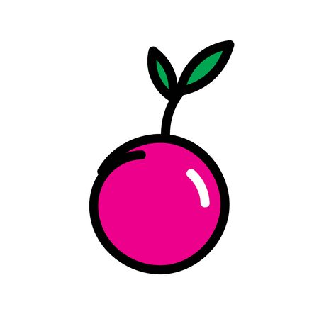 Red cherry fruit with green leaves painted in a flat style. Flat cartoon style red cherry fruit with leaves vector eps10. cherry flat style icon. Illusztráció
