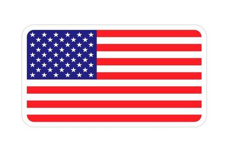 American flag badge with shadow. American Usa flag badge icon vector eps10. United states of america, usa badge flag Illusztráció