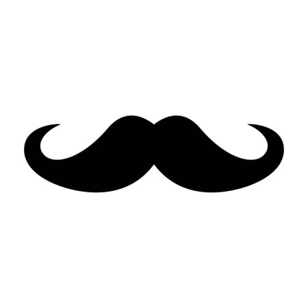 Black mustache barbershop symbol for men and beard haircuts. Hipster or classic Italian thick mustache. Hipster mustache for a beauty salon for men, isolated on white
