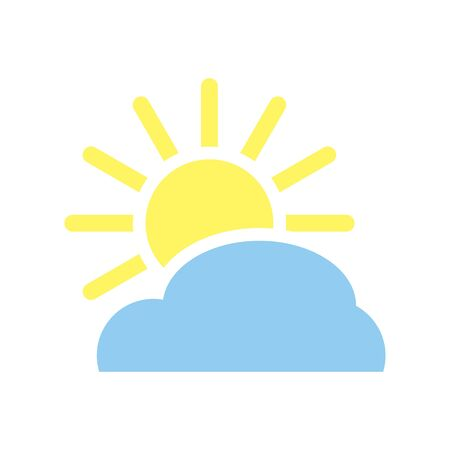 Blue Cloud with  yellow sun and rays, weather vector eps10. Yellow sun and cloud, weather icon. weather icon with Cloud and yellow sun with shiny rays.