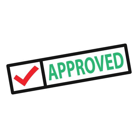 Square approved stamp with red check mark. Positive approved stamp with red check mark vector eps10. Check mark stamp, isolated on white.
