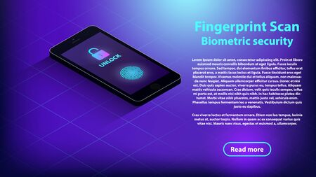 Isometric black smartphone  with security fingerprint and shadow on dark blue background. Isometric smartphone with fingerprint scanner vector eps10. Black isometric smartphone.