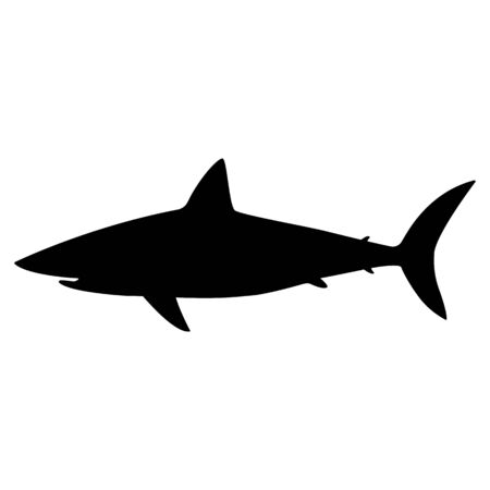 Black Silhouette of a white shark icon.  White shark silhouette in black, isolated vector eps10. Black color white shark flat style, vector