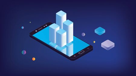 Isometric smartphone with info charts. Isometric black smartphone isolated with reflective blue screen on which charts online servers. Isometric smartphone with charts. Illusztráció
