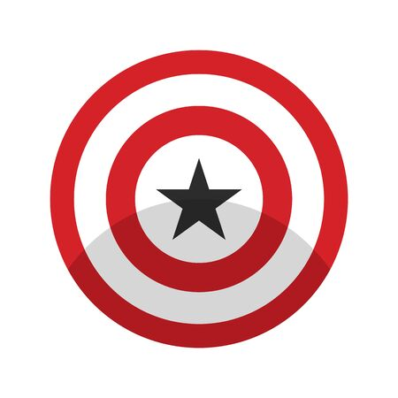 American superhero shield with star. Red round superhero shield with shadow. Flat style red color american superhero shield with star vector eps10.