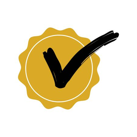 Check mark circle badge yellow color with black arrow. Check mark good quality sign badge vector eps10. Yes or approved sign.