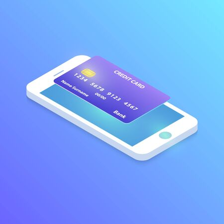 Isometric smartphone online shopping with credit card, vector. Isometric smartphone  online payment with bank credit card. Online shopping with credit card on isometric  smartphone.