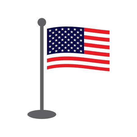USA waving flag on grey flagpole, flat style. American Usa waving flag on grey flagpole isolated on white.