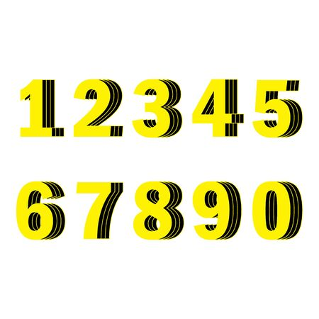 Yellow numbers from one to ten with three layers shifted. Numbers yellow color with layers black fill and yellow strokes