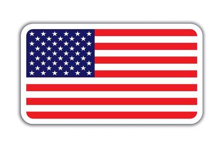 American flag badge with shadow. American Usa flag badge icon vector eps10. American flag badge with shadow, isolated on white. Illusztráció