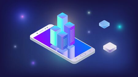 Techno wallpaper with an isometric Grey smartphone and a reflective blue screen on which charts online servers. Isometric smartphone with server charts. Isometric smartphone with charts, lights.