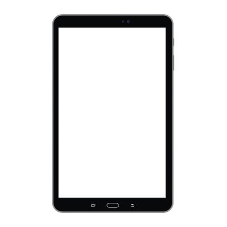 Black long tablet with empty white screen, isolated on white. Tablet black color with white screen vector eps10. Tablet top view with empty screen. Illusztráció