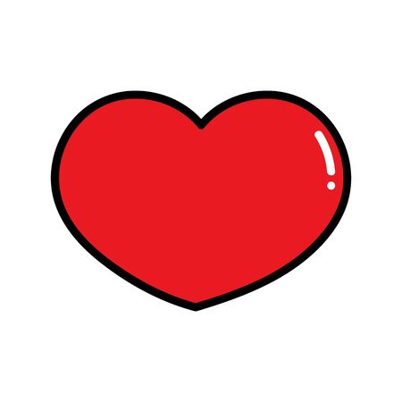 Red heart a symbol of Valentines Day and love drawn in a flat style. Red heart flat style, love icon vector eps10. Illustration