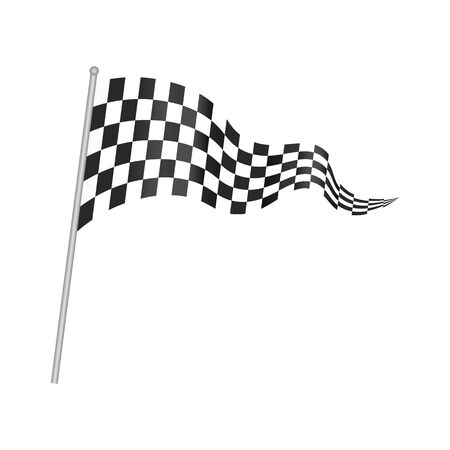 Checkered racing developing flag with a stick. Checkered waving flag isolated on white, vector. Checkered racing flag with metal stick. Illustration