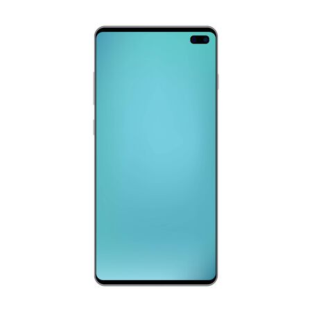 Black smartphone top metal gradient with empty blue screen and camera. Black smartphone top with blue mesh gradient screen vector eps10. Reaslistic smartphone blue screen, isolated vector.