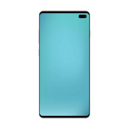 Black smartphone top metal gradient with empty blue screen and camera. Black smartphone top with blue mesh gradient screen vector eps10. Reaslistic smartphone blue screen, isolated vector.