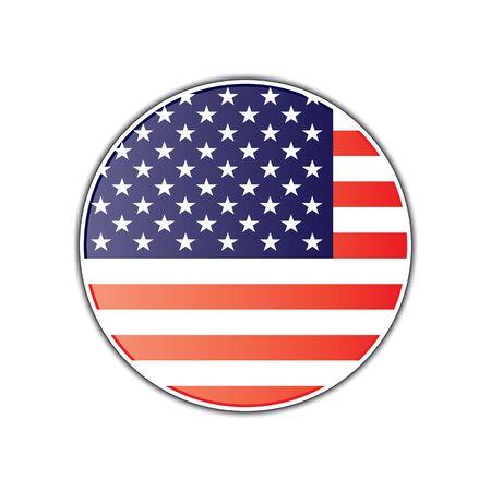 American flag round glossy badge. Glossy round badge with american flag vector eps10. American flag round badge isolated on white.