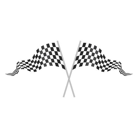 Checkered Racing waving double flag isolated on white. two crossed racing checkered flags.  Racing ckeckered waving flag vector eps10 Illustration